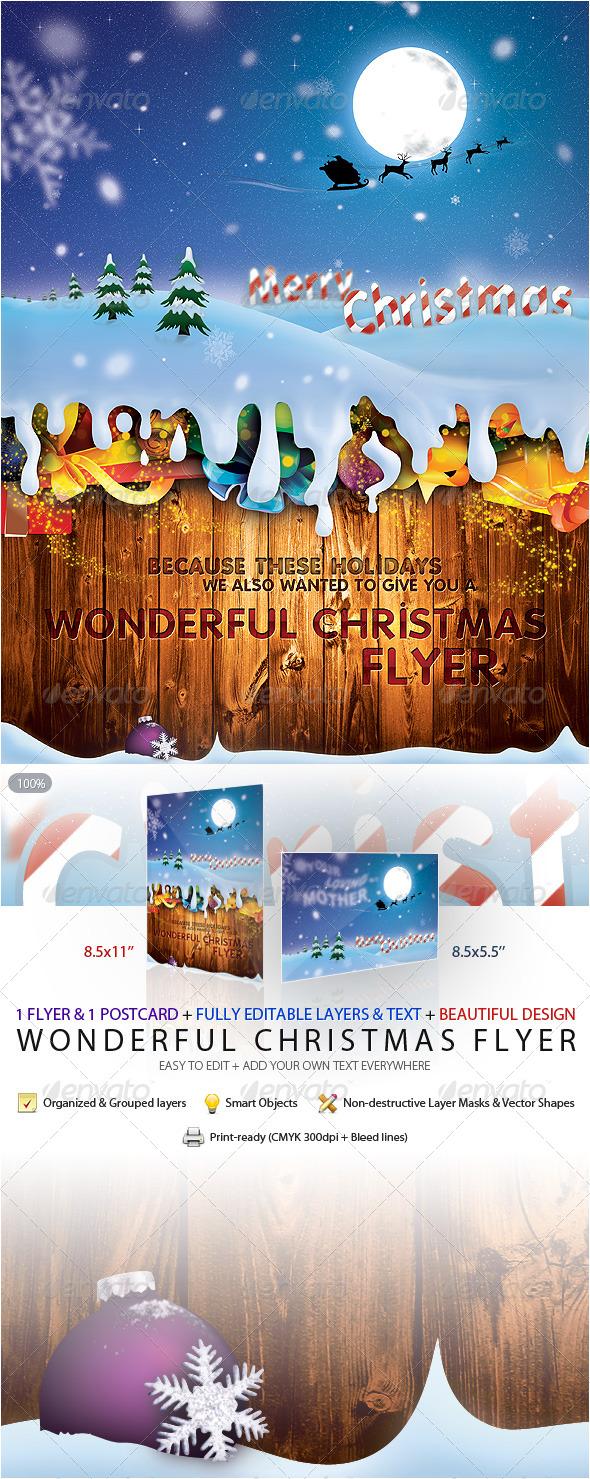 GraphicRiver Wonderful Christmas Flyer & Postcard 146862