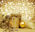 Christmas Decoration Over Glittering Golden Background - PhotoDune Item for Sale