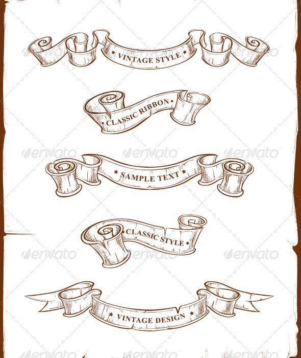 GraphicRiver Vintage Ribbons Set 147546