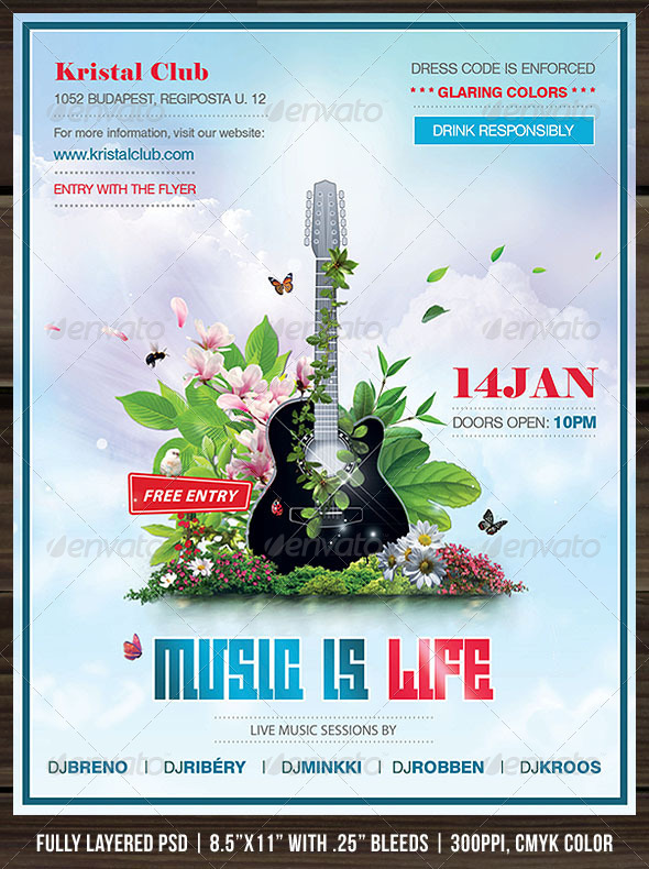 GraphicRiver Music Is Life Poster Flyer 1217019