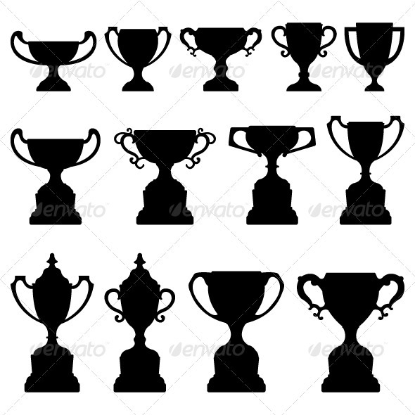 GraphicRiver Trophy Cup Award Silhouette Black 1219017