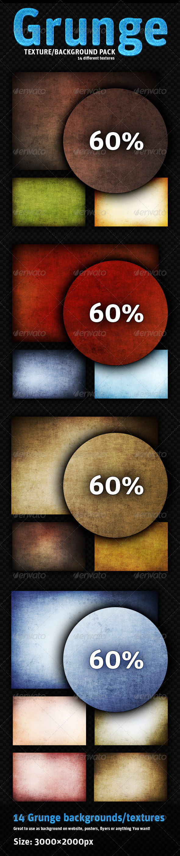 GraphicRiver Grunge pack 14 different backgrounds 148605