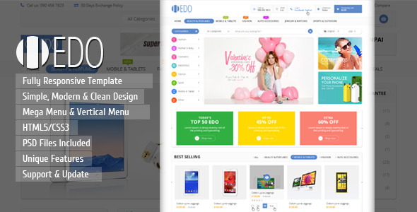 Edo ecommerce responsive html template by kutethemes for Dreamweaver shopping cart templates