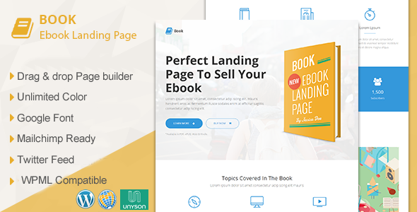 Book responsive ebook landing page wordpress theme by for Free landing page templates for wordpress