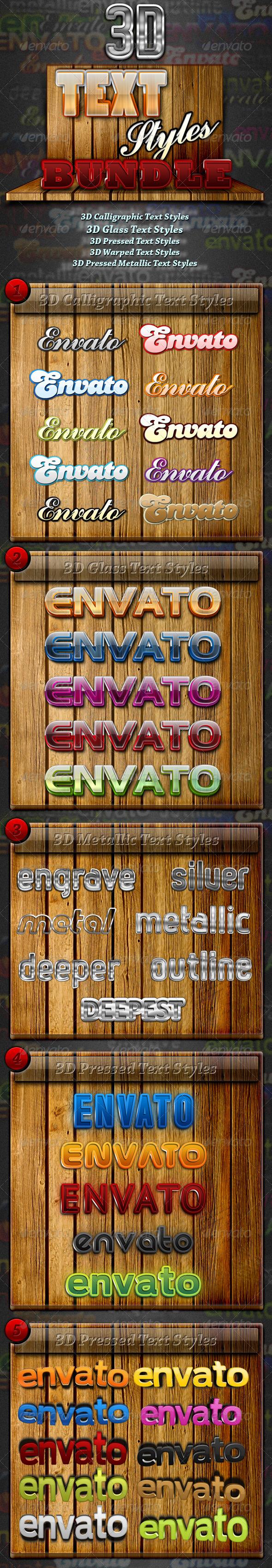 GraphicRiver Premium 3D Text Styles Bundle 1227814