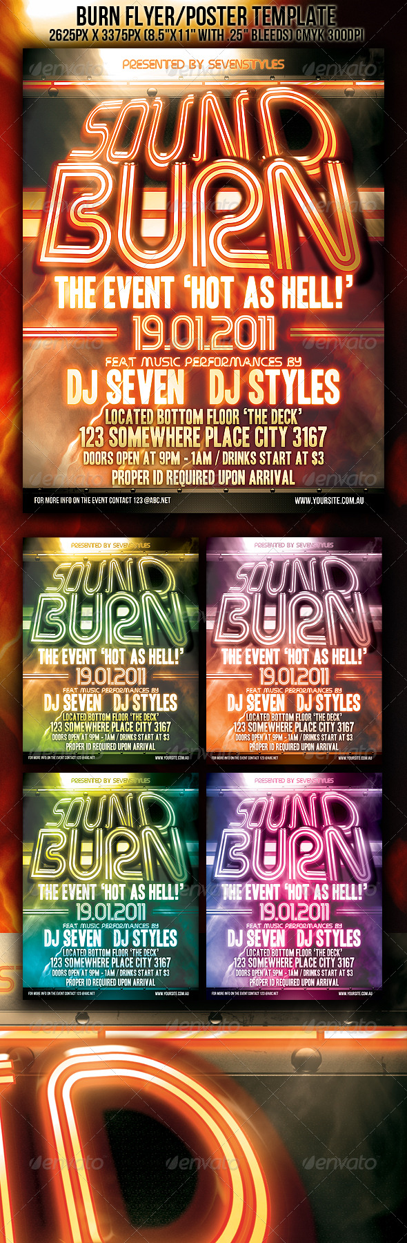 GraphicRiver Sound Burn Flyer Poster Template 149707