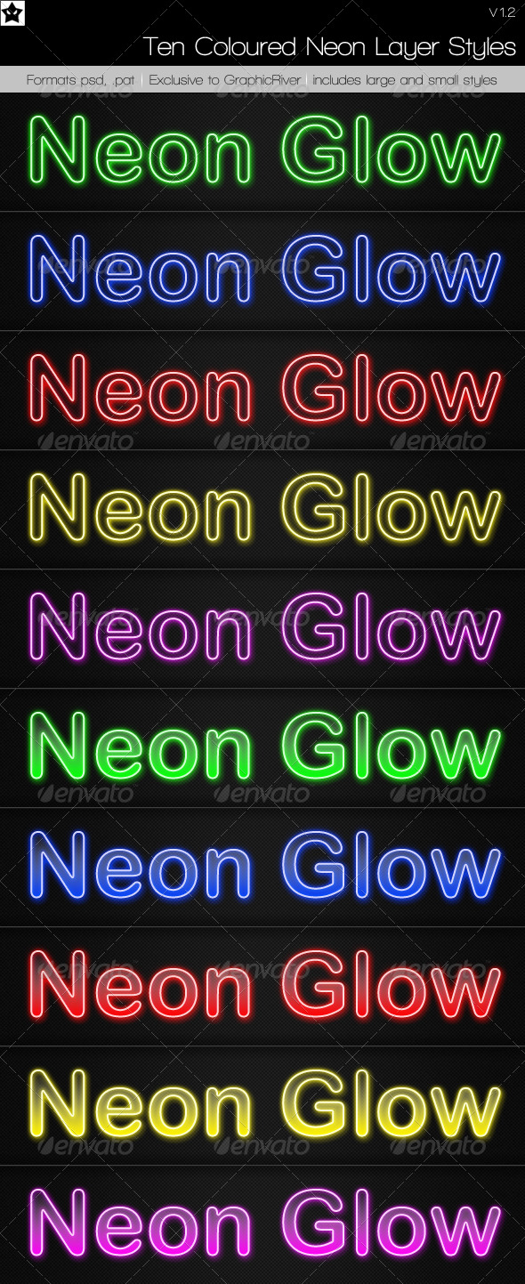 GraphicRiver 10 Neon Layer Styles 69490