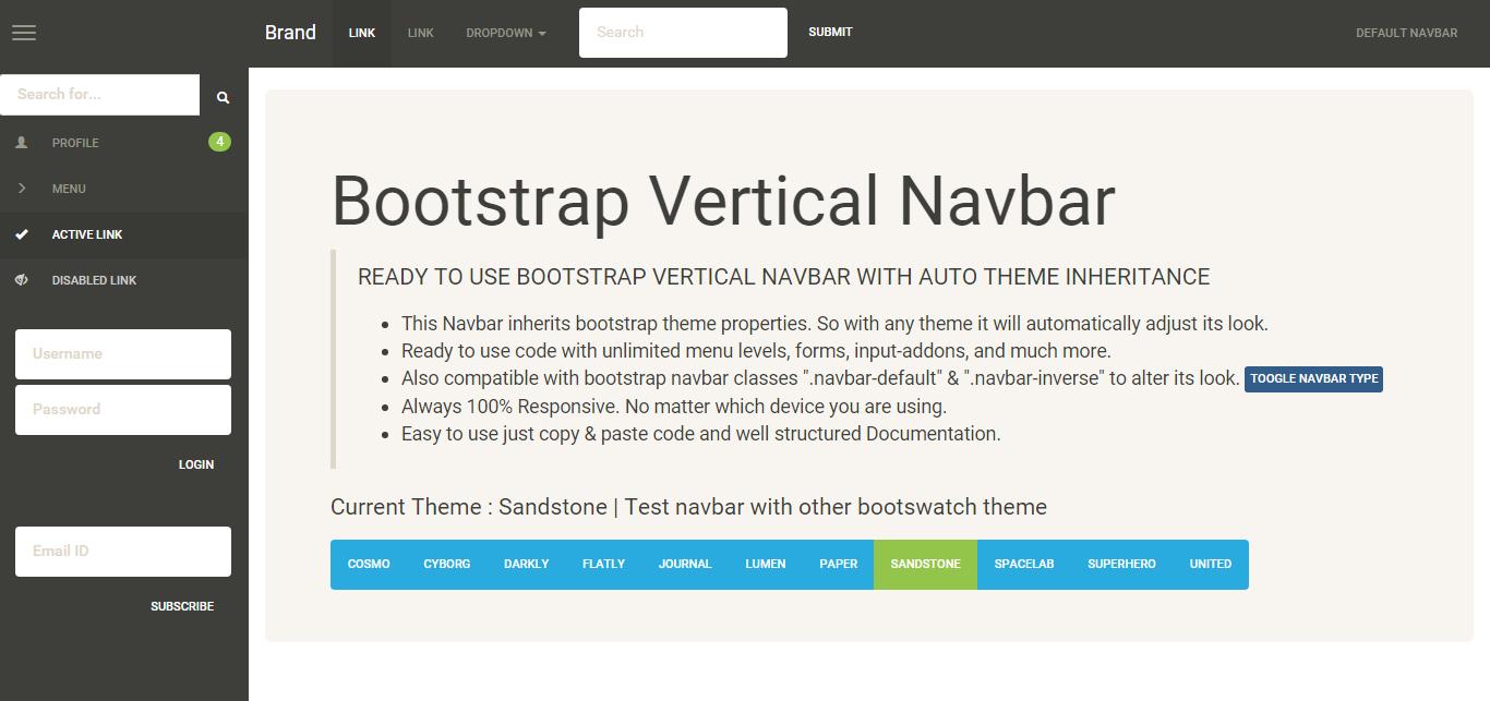 Bootstrap template navigation bar template : 2018