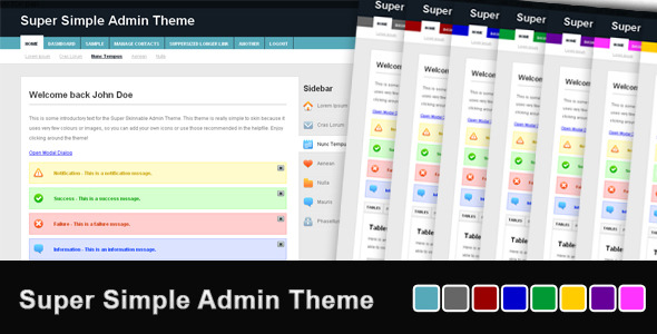 Sshalinie super simple admin theme admin templates site for Simple html admin template