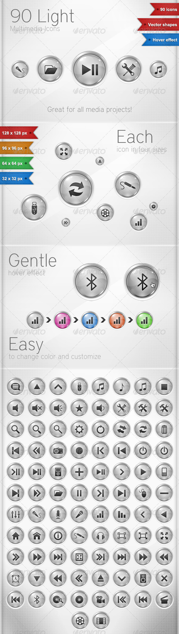 GraphicRiver 90 Light Multimedia Icons 150839