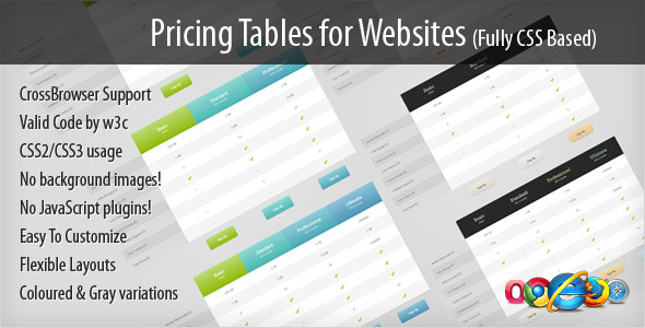 CodeCanyon Pricing Tables for Websites fully CSS based 1247442