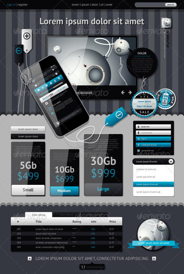 GraphicRiver Elements of Infographics with buttons and menus 1247458