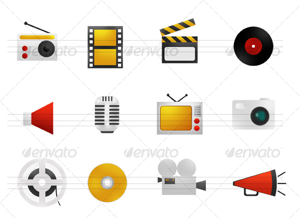 GraphicRiver WARM ICONS SET 3 Multimedia 33873