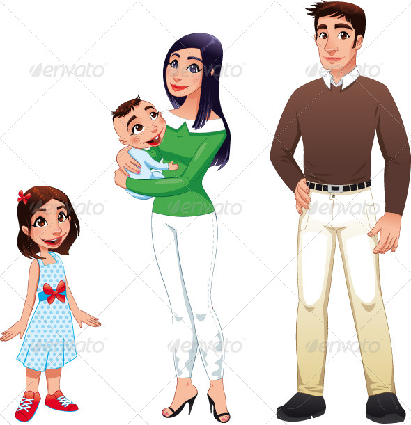 GraphicRiver Human Family with Mother Father and Children 151216