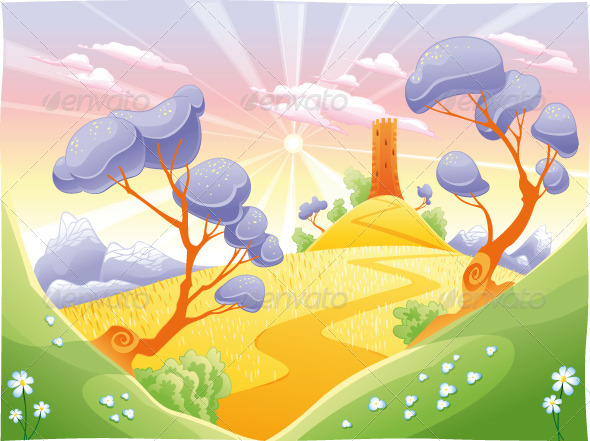 GraphicRiver Landscape with tower 151746