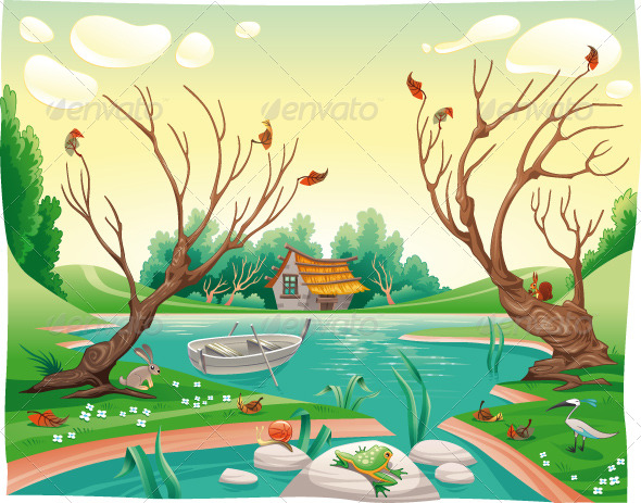 GraphicRiver Pond and animals 151748