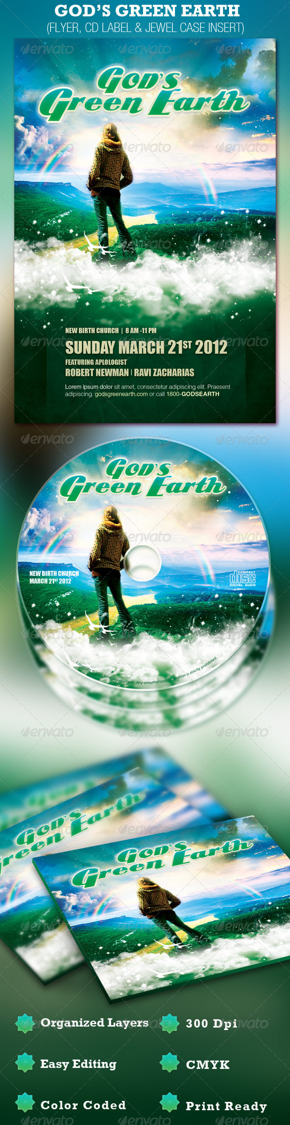 GraphicRiver God's Green Earth Church Flyer and CD Template 1243830