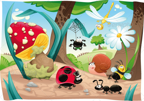 GraphicRiver Insects family on the ground 152143