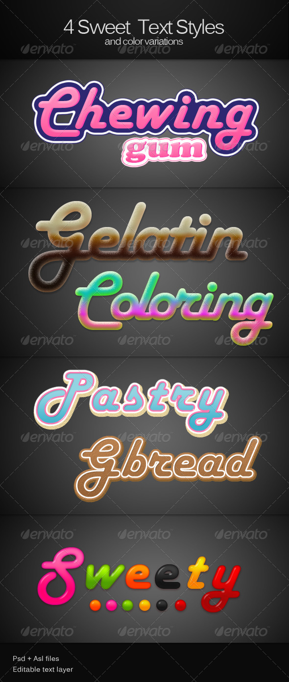 GraphicRiver 4 Sweet text Styles 152167