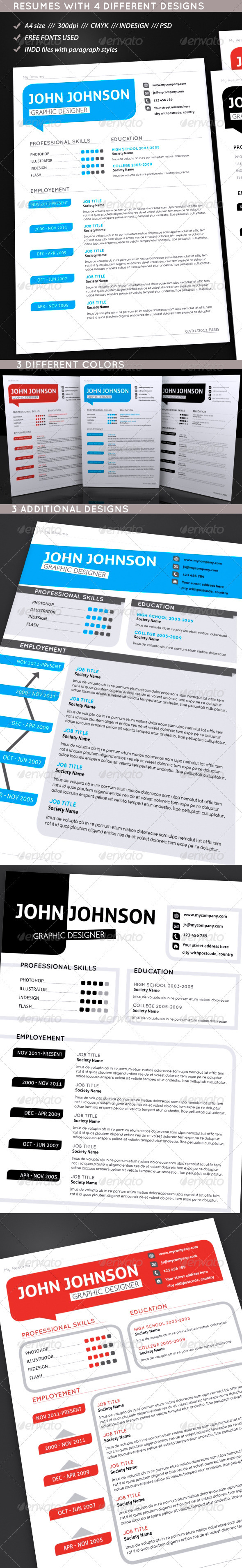 GraphicRiver Set Of Modern Resumes 1272183