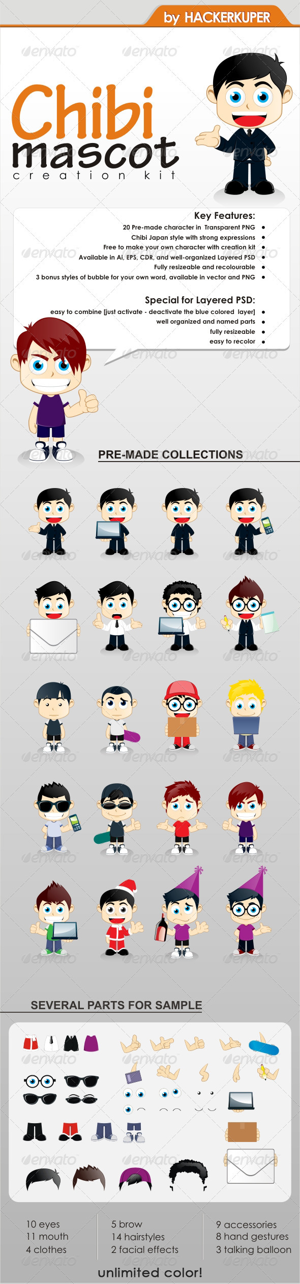 GraphicRiver Chibi Mascot Creation Kit For General Business 1251174