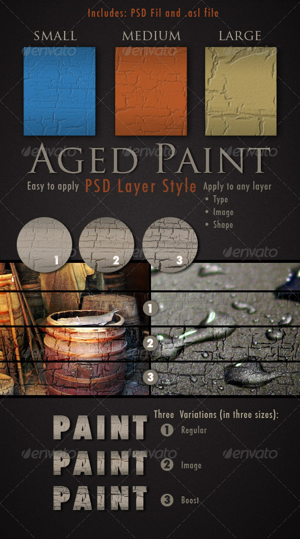 Graphic River Aged Paint Photoshop Layer Style Add-ons -  Photoshop  Styles  Text Effects 154051
