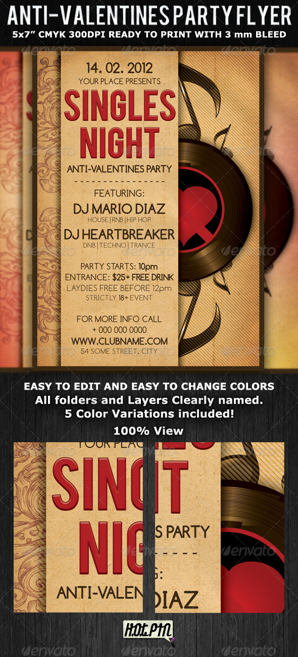 GraphicRiver Singles Valentines Party Flyer Template 1281167