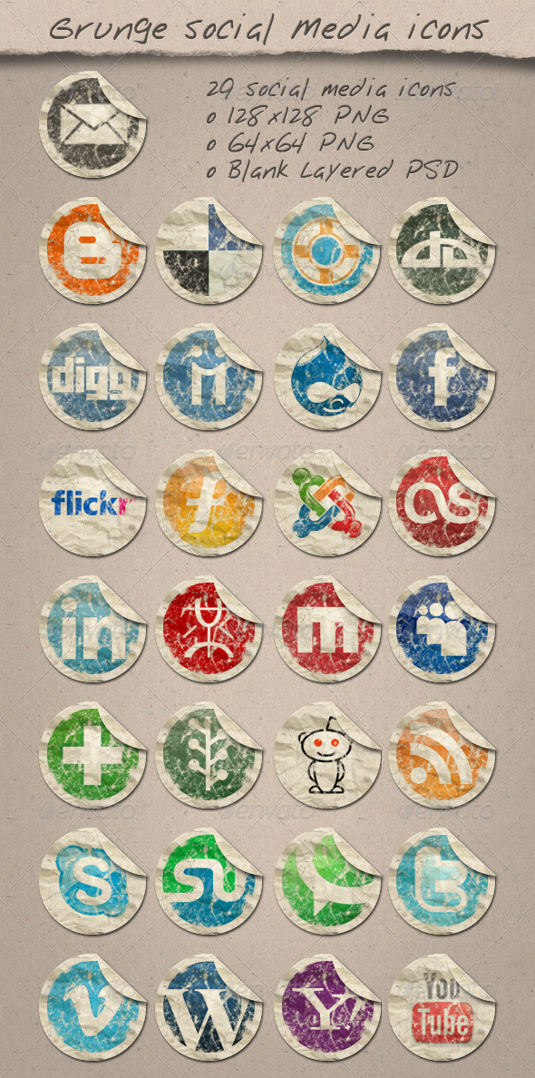 GraphicRiver 29 Grunge Paper Social Media Icons 154161