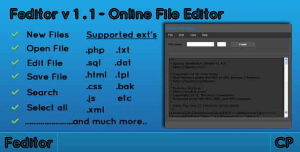 CodeCanyon Feditor-Online file editor 149742