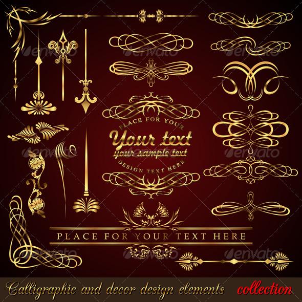 GraphicRiver Gold calligraphic design elements 156378