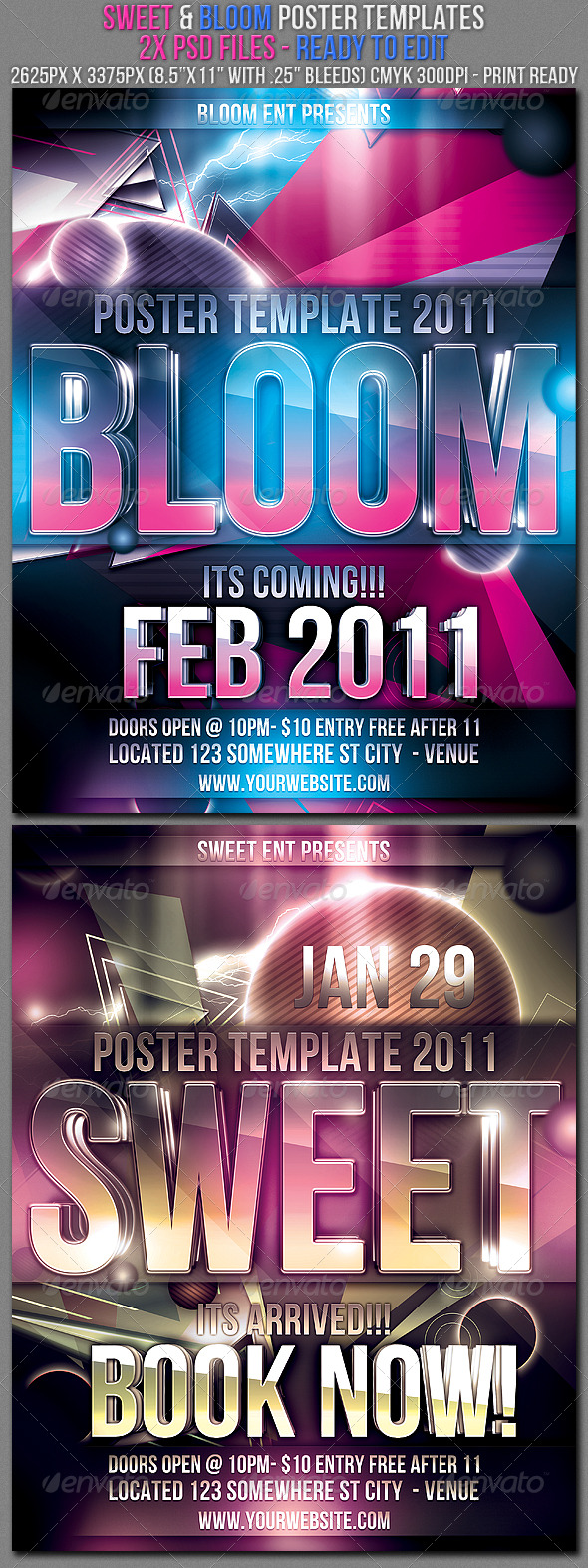 GraphicRiver Bloom & Sweet Poster Templates 155638