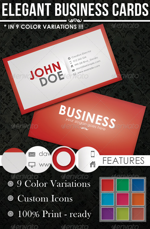 GraphicRiver 9 Colors Elegant Corporate Business Cards 157170