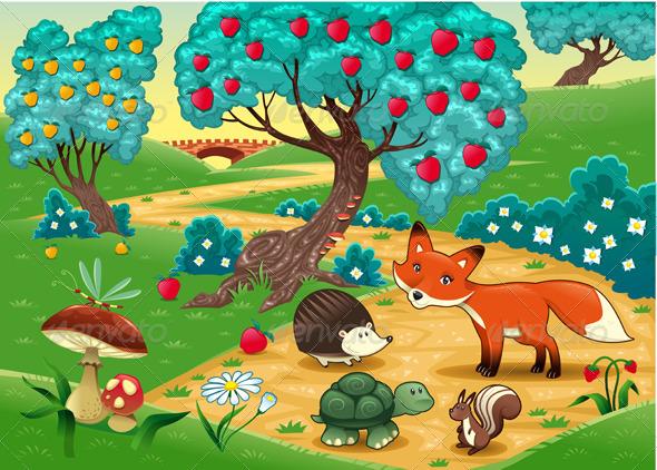Животные в лесу Векторный клипарт CLIPARTO