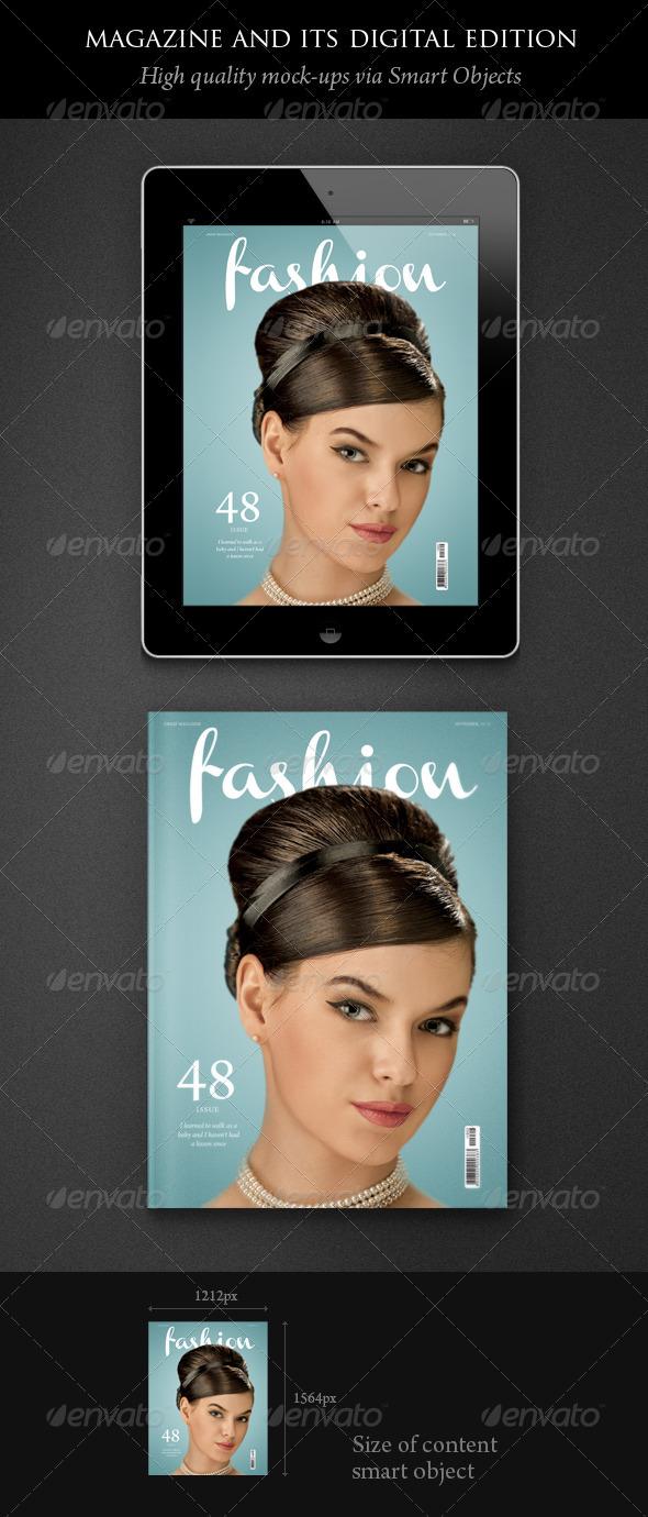 GraphicRiver Magazine and its Digital Edition Mockup 1313486