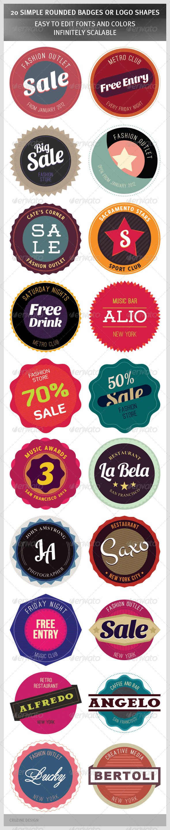 GraphicRiver 20 Simple Rounded Badges or Logo Shapes 1320108