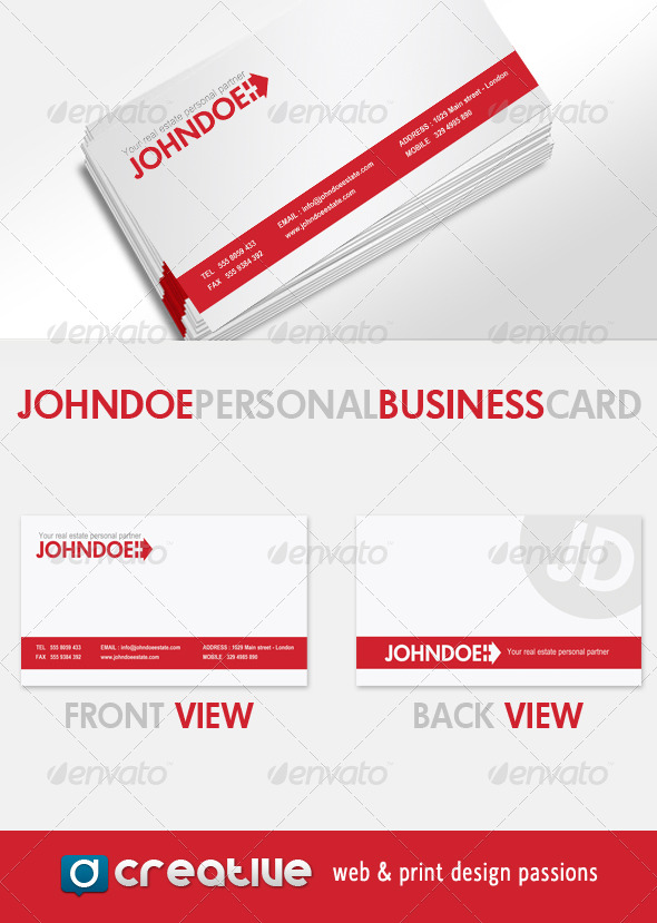 GraphicRiver John Doe Real Estate personal Business Card 158305