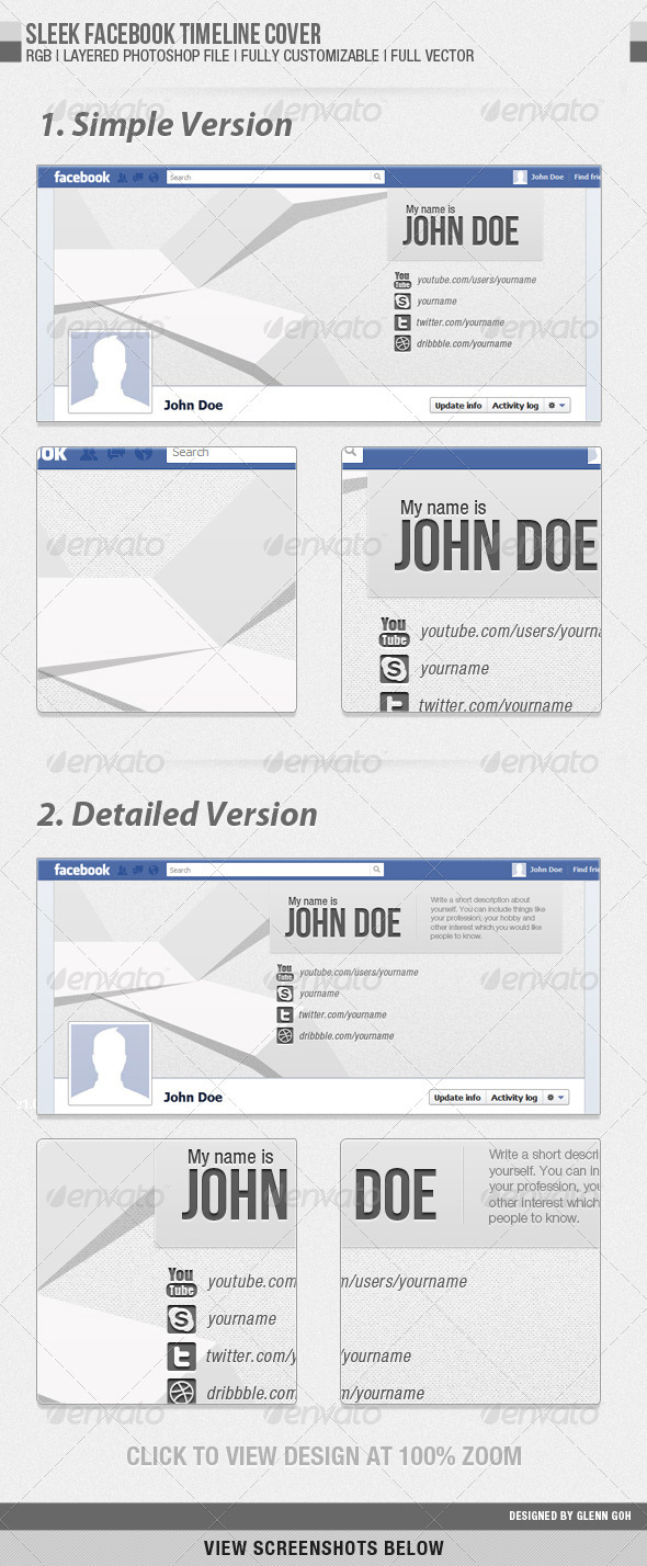 GraphicRiver Sleek Facebook Timeline Cover 1310521