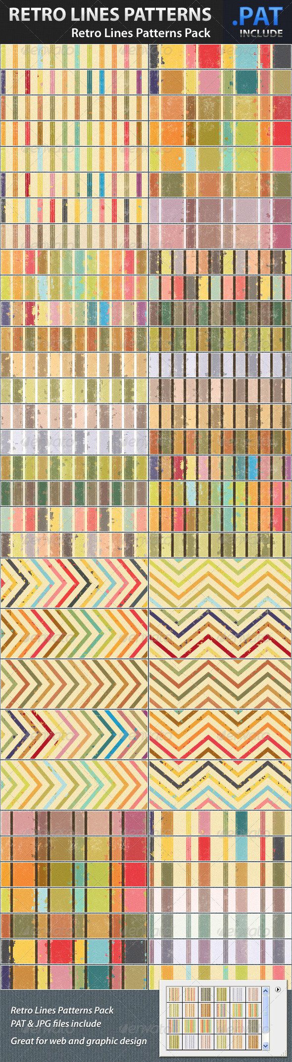 GraphicRiver Retro Lines Patterns Pack 1324408