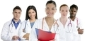 Doctors team group in a row white background - PhotoDune Item for Sale