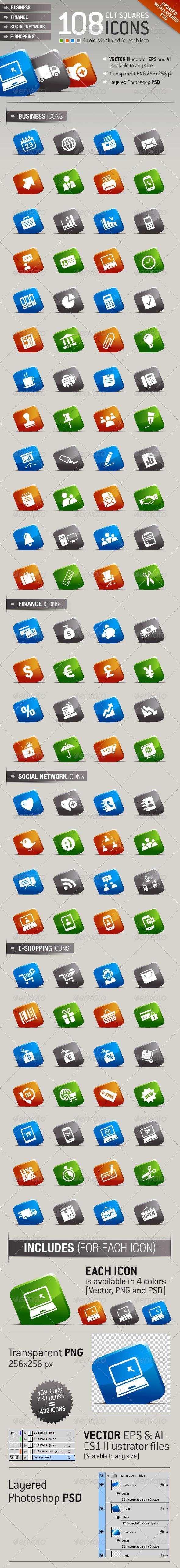 GraphicRiver 108 Cut Squares Icons 1288288