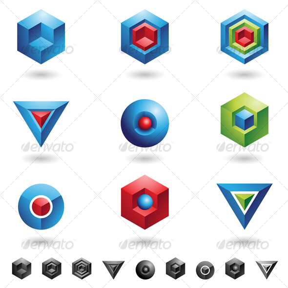 Graphic River 3D cubes and triangles Icons -  Abstract 52777