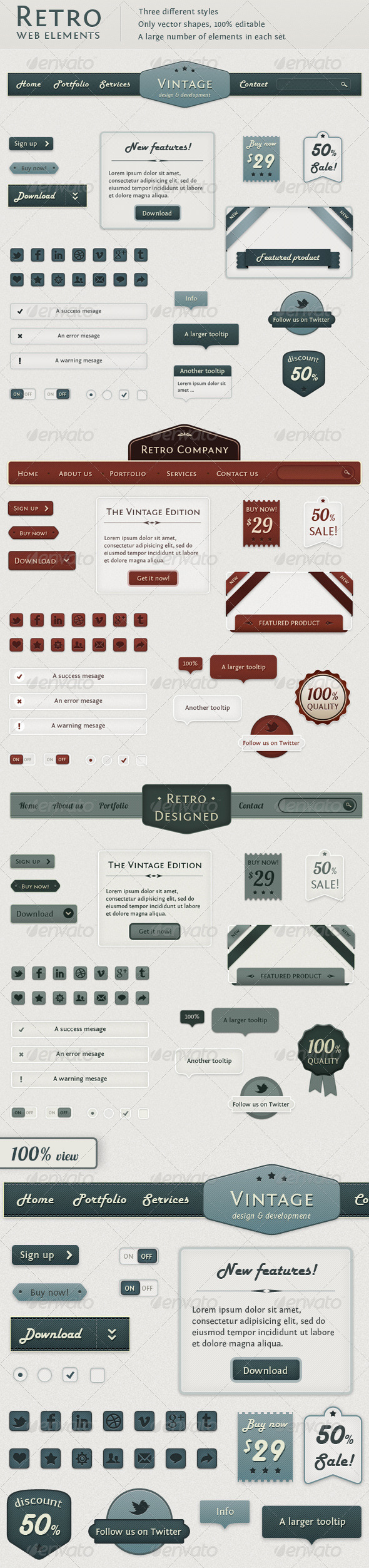 GraphicRiver Retro Web Elements Vintage Touch 1333590