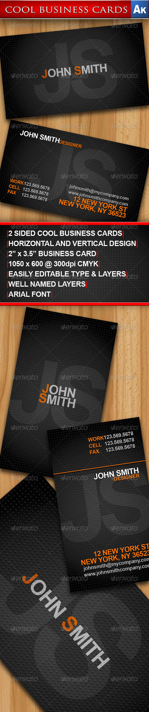 GraphicRiver Cool Business Cards Horizontal and Vertical 160001