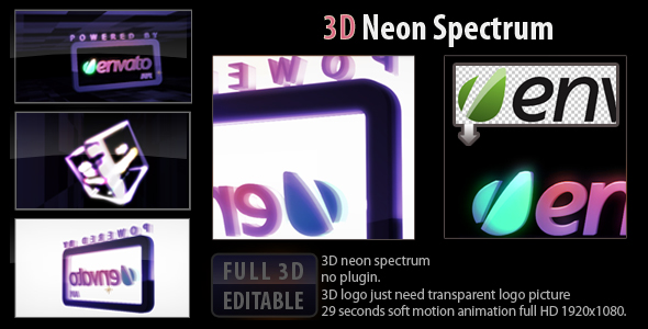 After Effects Project - VideoHive 3D neon spectrum 159330