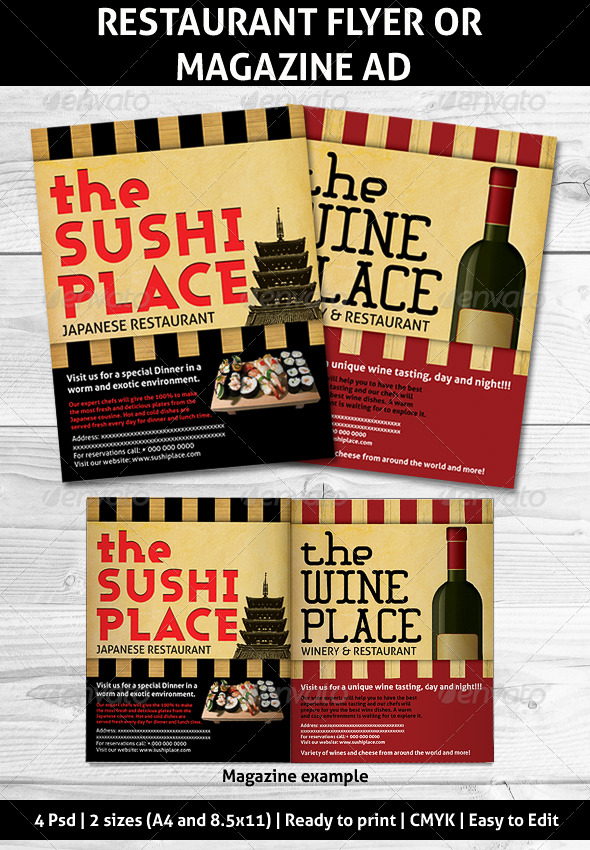 GraphicRiver Restaurant Magazine Ads or flyer 160623