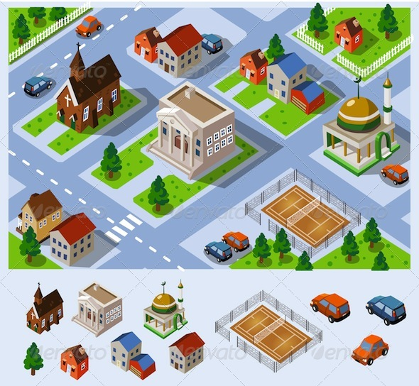 GraphicRiver Map of City Hall Set of detailed isometric vector 160840