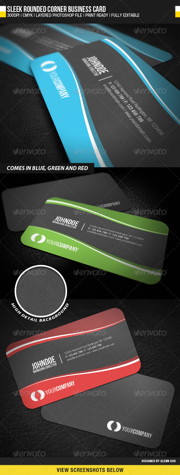 GraphicRiver Sleek Rounded Corner Business Card 1344248