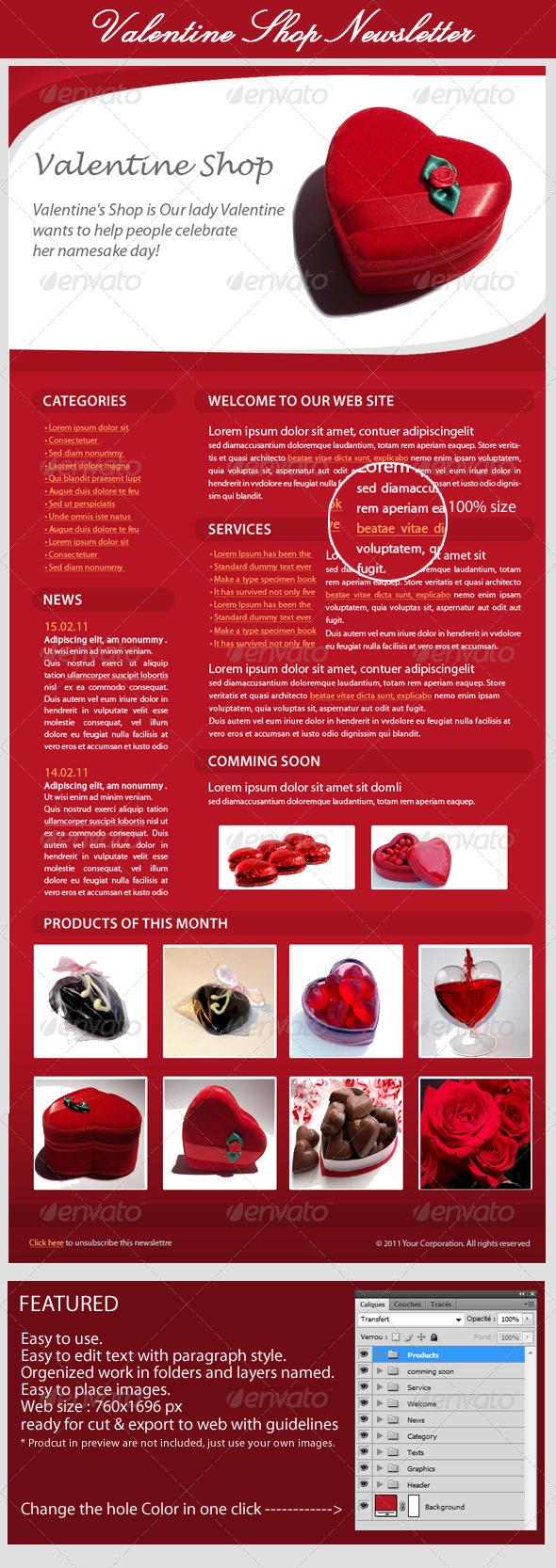 GraphicRiver Valentines Day E-Newsletter 160980