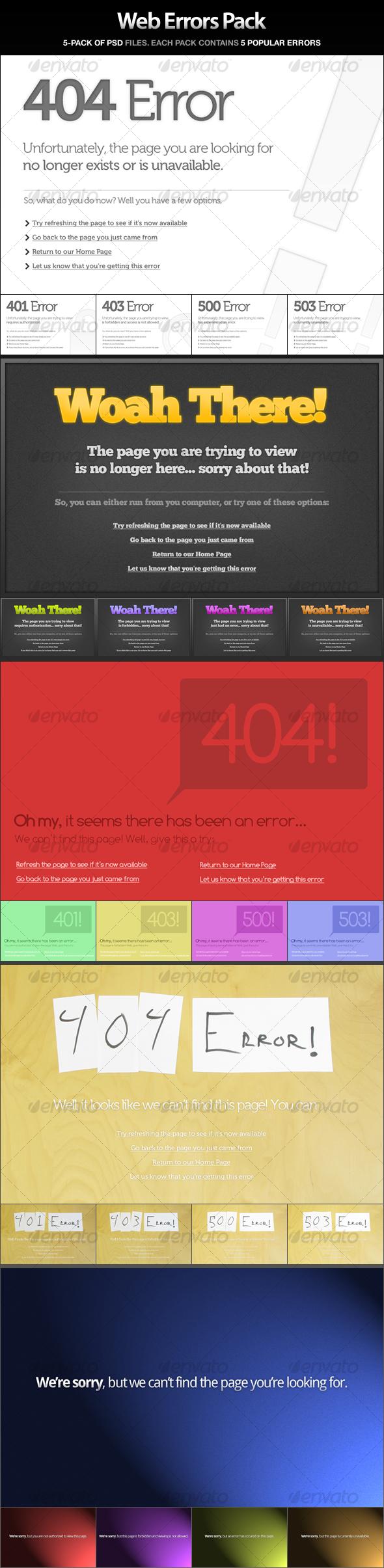 GraphicRiver Web Errors Pack 404 401 403 500 503 46697