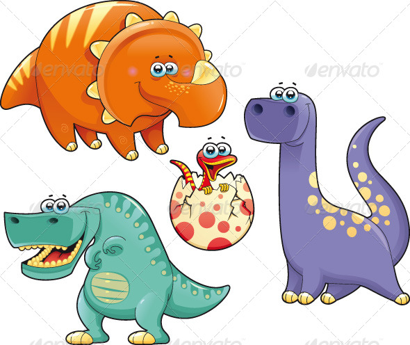 Graphic River Group of funny dinosaurs. Vectors -  Characters 161969